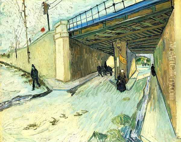 The Railway Bridge Over Avenue Montmajour Arles Oil Painting - Vincent Van Gogh