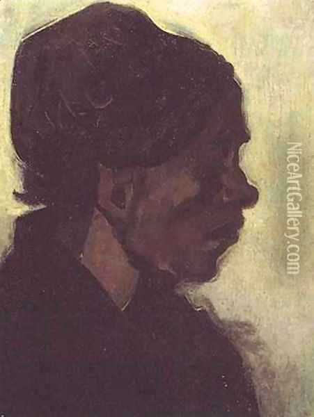 Head Of A Brabant Peasant Woman With Dark Cap Oil Painting - Vincent Van Gogh