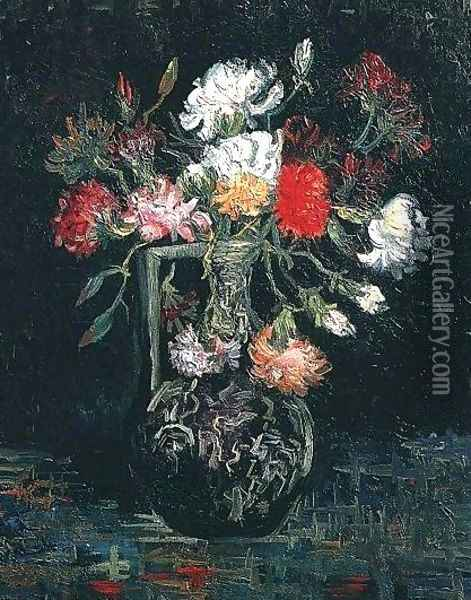 Vase With White And Red Carnations Oil Painting - Vincent Van Gogh