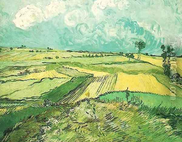 Wheat Fields At Auvers Under Clouded Sky Oil Painting - Vincent Van Gogh