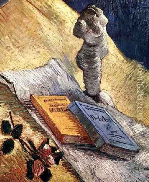 Still Life With Plaster Statuette A Rose And Two Novels Oil Painting - Vincent Van Gogh