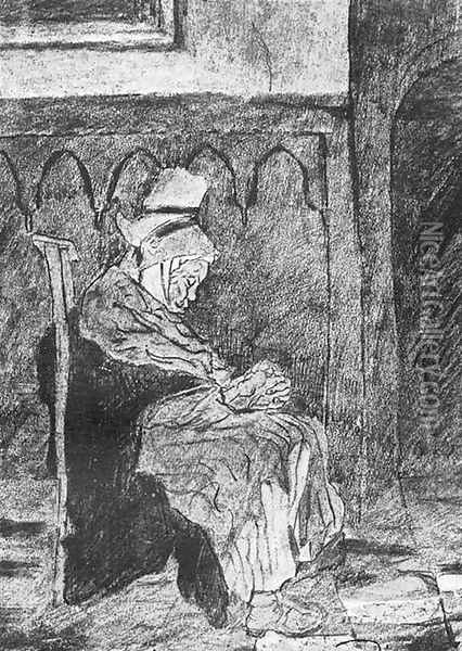 Old Breton Woman Asleep in Church Oil Painting - Vincent Van Gogh