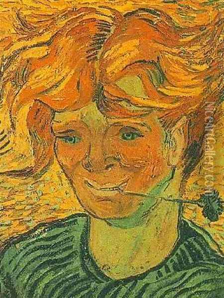 Young Man With Cornflower Oil Painting - Vincent Van Gogh