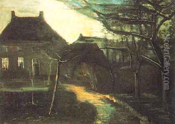 The Parsonage At Nuenen By Moonlight Oil Painting - Vincent Van Gogh