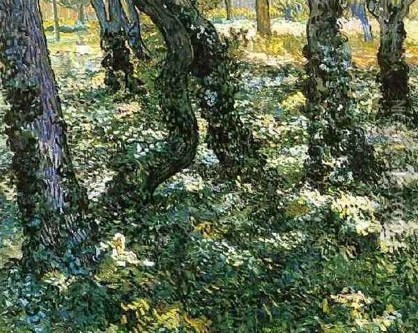 Tree Trunks With Ivy Oil Painting - Vincent Van Gogh
