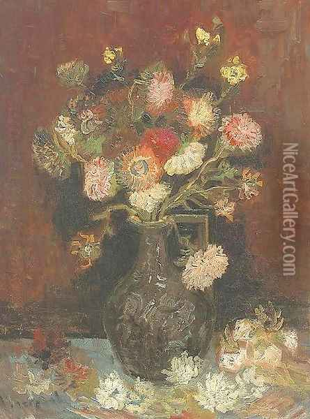 Vase With Asters And Phlox Oil Painting - Vincent Van Gogh
