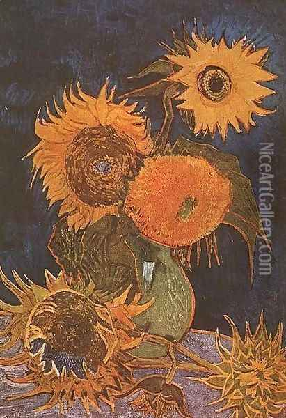 Vase With Five Sunflowers Oil Painting - Vincent Van Gogh