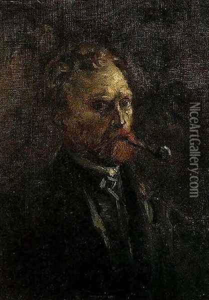 Self Portrait With Pipe II Oil Painting - Vincent Van Gogh
