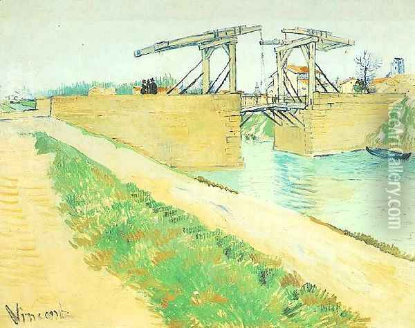 The Langlois Bridge At Arles With Road Alongside The Canal Oil Painting - Vincent Van Gogh