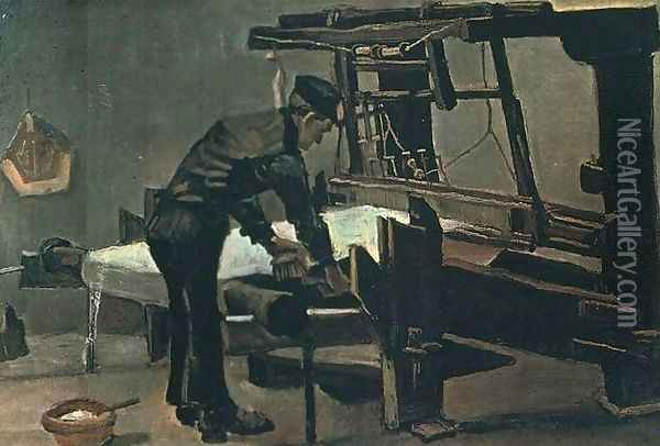 Weaver Standing In Front Of A Loom Oil Painting - Vincent Van Gogh