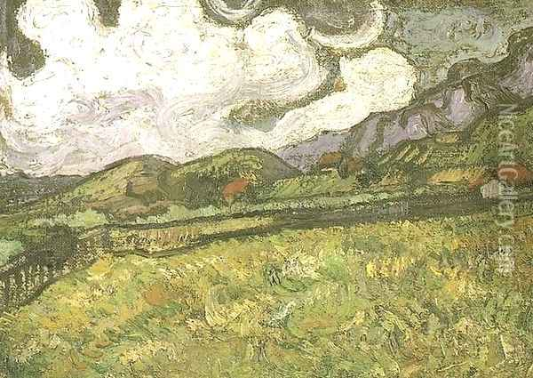 Wheat Field Behind Saint Paul Hospital Oil Painting - Vincent Van Gogh