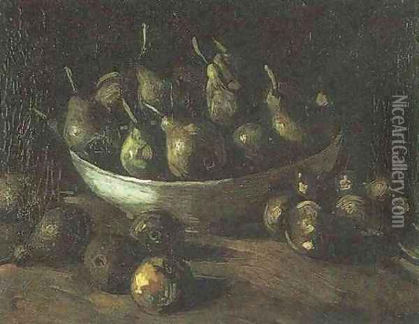 Still Life With An Earthen Bowl And Pears Oil Painting - Vincent Van Gogh