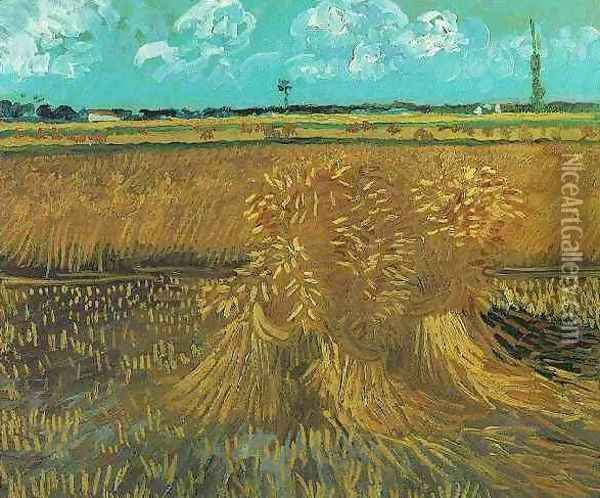Wheat Field With Sheaves Oil Painting - Vincent Van Gogh