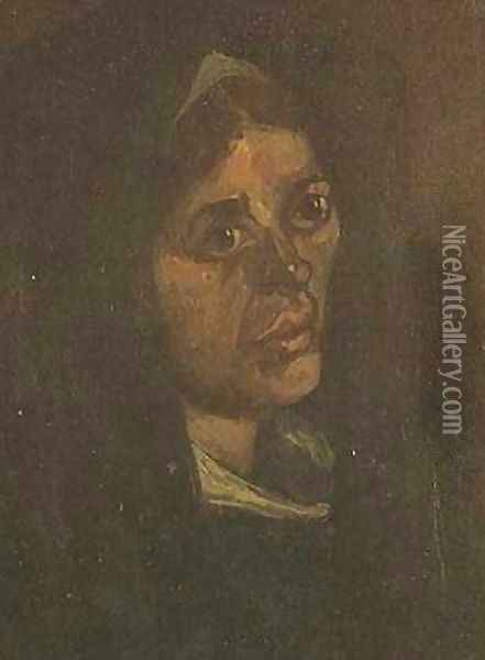 Head Of A Peasant Woman In A Green Shawl Oil Painting - Vincent Van Gogh