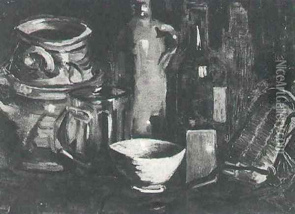 Still Life With Pottery Beer Glass And Bottle Oil Painting - Vincent Van Gogh