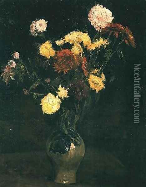 Vase With Carnations And Zinnias Oil Painting - Vincent Van Gogh