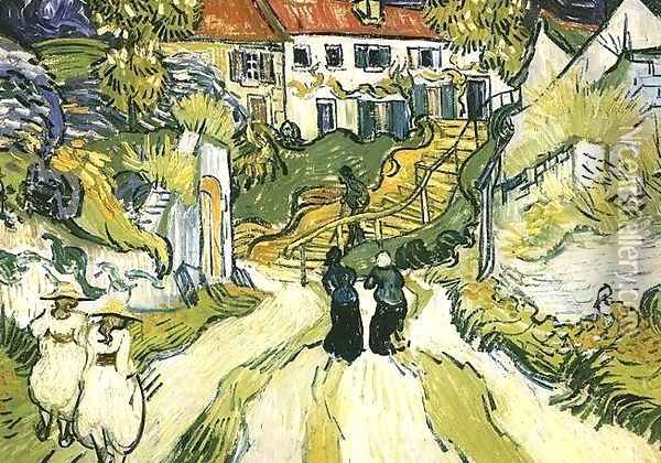 Village Street And Steps In Auvers With Figures Oil Painting - Vincent Van Gogh