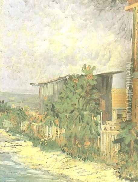 Montmartre Path With Sunflowers Oil Painting - Vincent Van Gogh