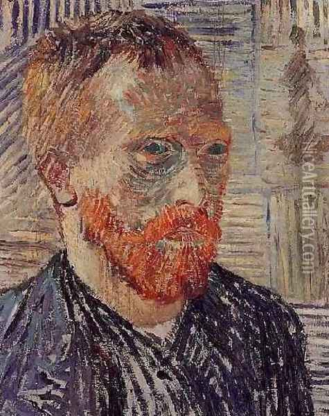 Self Portrait With A Japanese Print Oil Painting - Vincent Van Gogh