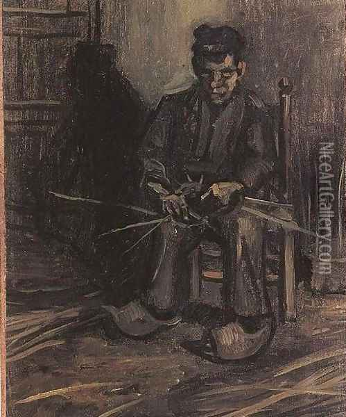 Peasant Making A Basket Oil Painting - Vincent Van Gogh
