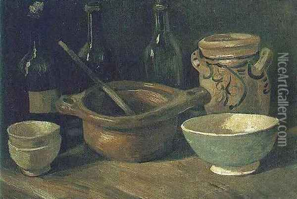 Still Life With Earthenware And Bottles Oil Painting - Vincent Van Gogh