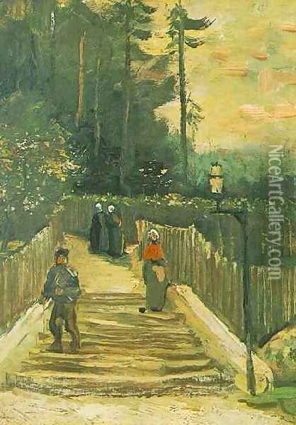 Sloping Path In Montmartre Oil Painting - Vincent Van Gogh