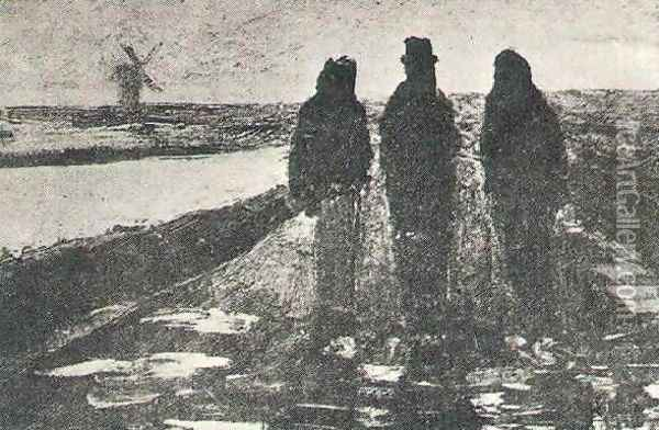Three Figures Near A Canal With Windmill Oil Painting - Vincent Van Gogh