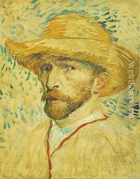 Self Portrait With Straw Hat III Oil Painting - Vincent Van Gogh