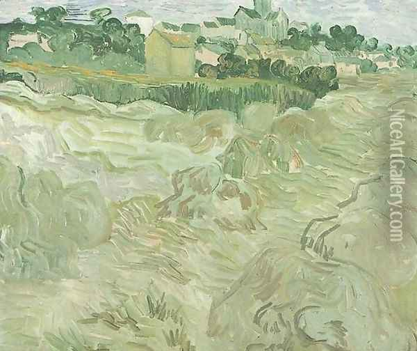 Wheat Fields With Auvers In The Background Oil Painting - Vincent Van Gogh