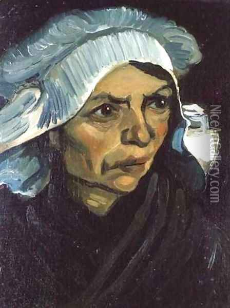 Head Of A Peasant Woman With White Cap VIII Oil Painting - Vincent Van Gogh