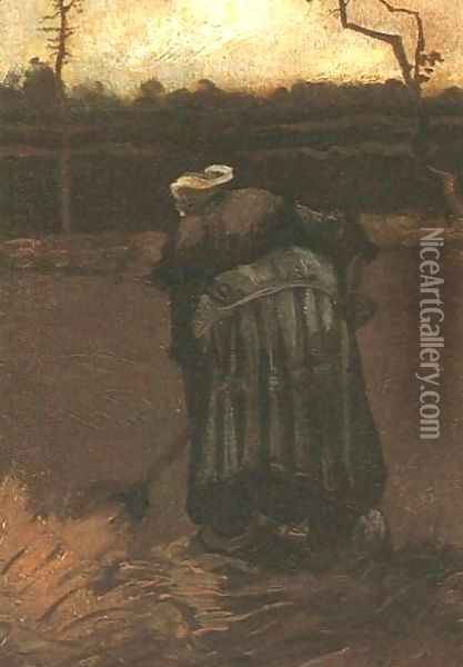 Peasant Woman Digging IV Oil Painting - Vincent Van Gogh