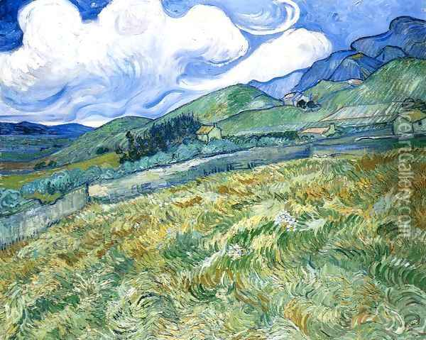 Wheatfield with Mountains in the Background Oil Painting - Vincent Van Gogh