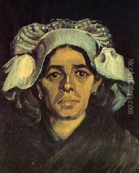 Head Of A Peasant Woman With White Cap IV Oil Painting - Vincent Van Gogh