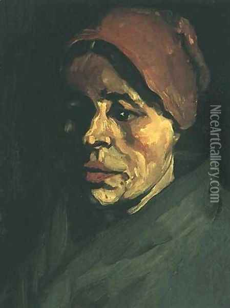 Head Of A Peasant Woman With Brownish Cap Oil Painting - Vincent Van Gogh