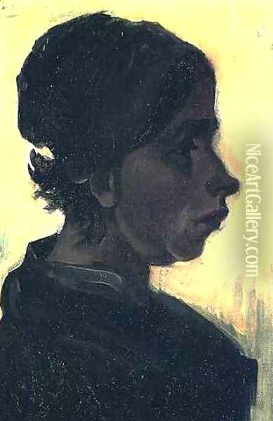 Head Of A Peasant Woman With Dark Cap V Oil Painting - Vincent Van Gogh