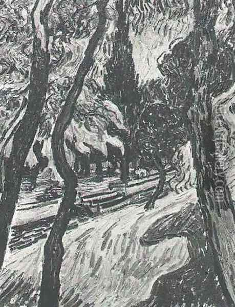 Trees In The Garden Of Saint Paul Hospital III Oil Painting - Vincent Van Gogh