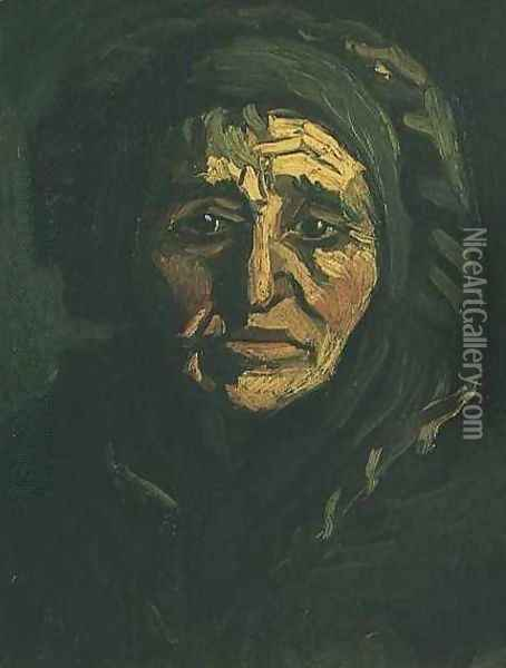 Head Of A Peasant Woman With Greenish Lace Cap Oil Painting - Vincent Van Gogh