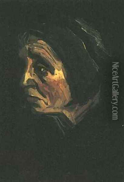 Head Of A Peasant Woman With Dark Cap IV Oil Painting - Vincent Van Gogh