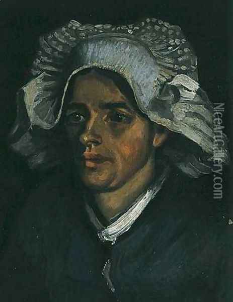 Head Of A Peasant Woman With White Cap II Oil Painting - Vincent Van Gogh