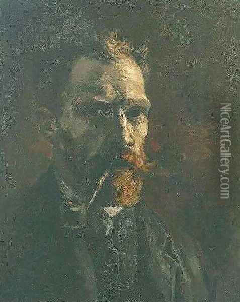 Self Portrait With Pipe Oil Painting - Vincent Van Gogh