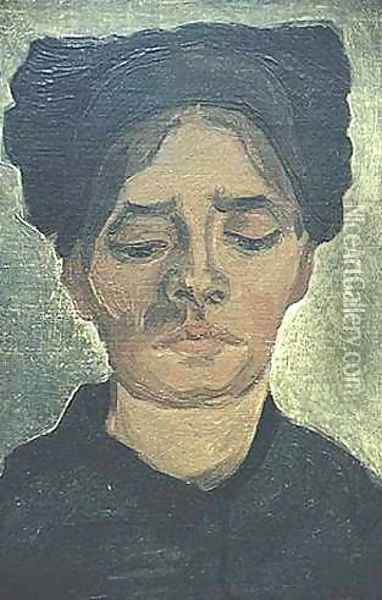 Head Of A Peasant Woman With Dark Cap I Oil Painting - Vincent Van Gogh