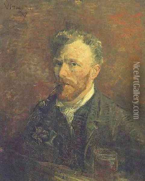 Self Portrait With Pipe And Glass Oil Painting - Vincent Van Gogh
