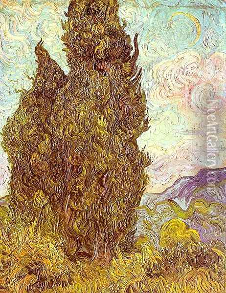 Two Cypresses Oil Painting - Vincent Van Gogh
