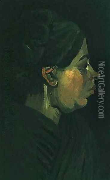 Head Of A Peasant Woman With Dark Cap II Oil Painting - Vincent Van Gogh