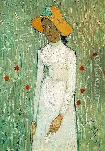 Young Girl Standing Against A Background Of Wheat Oil Painting - Vincent Van Gogh