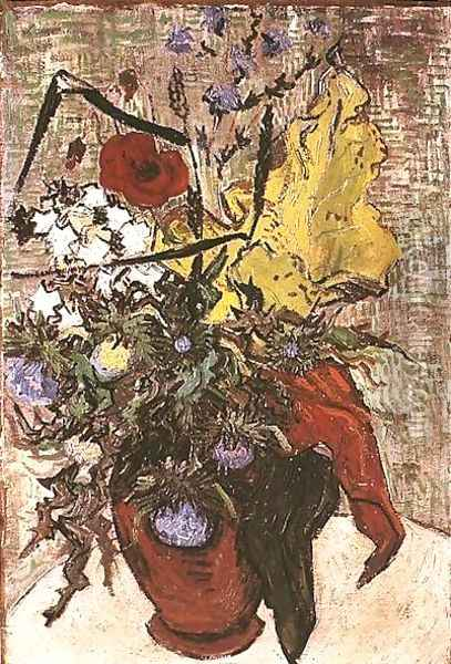Wild Flowers And Thistles In A Vase Oil Painting - Vincent Van Gogh