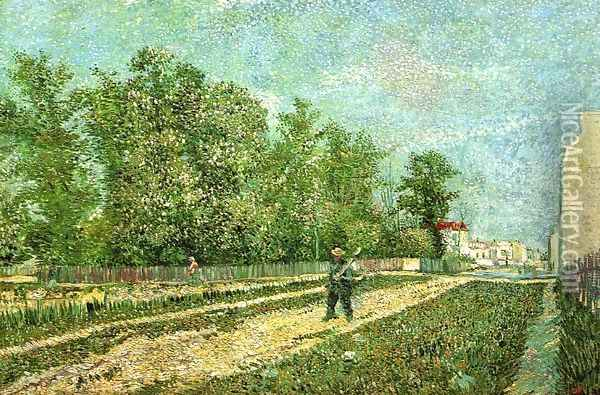 Man with Spade in a Suburb of Paris Oil Painting - Vincent Van Gogh