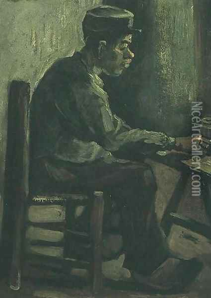 Peasant Sitting At A Table Oil Painting - Vincent Van Gogh