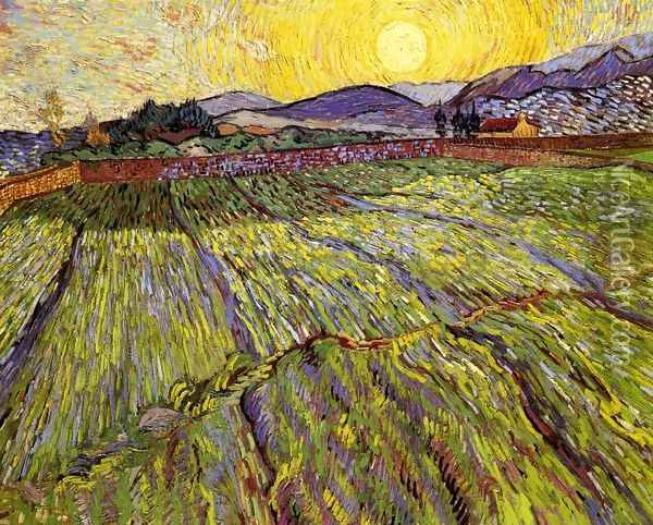 Wheat Field with Rising Sun Oil Painting - Vincent Van Gogh