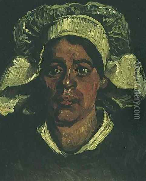 Head Of A Peasant Woman With White Cap IX Oil Painting - Vincent Van Gogh